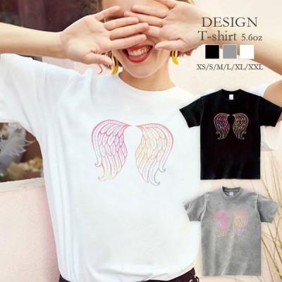 Tシャツ レディース 半袖 トップス ブランド ユニセックス メンズ プリントTシャツ 羽 羽根 ゆめかわいい パステル 原宿系 おしゃれ