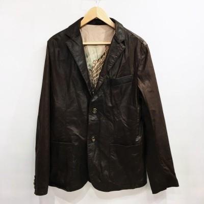 emanuele curci 【men4995】 レザージャケット イタリア製 ブラウン 無地 メンズ OC