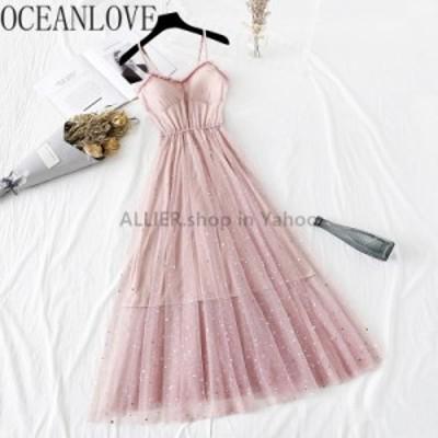 レディースファッション OCEANLOVEスパンコールメッシュAラインレディースドレスAラインハイウエストソリッドVestidos