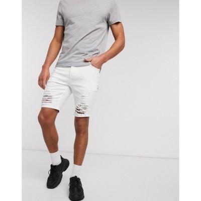 エイソス メンズ カジュアルパンツ ボトムス ASOS DESIGN skinny denim shorts in white with ladder rips White