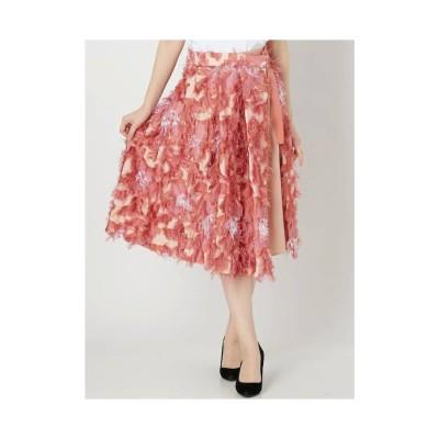 MERCURYDUO フリンジフラワーJQスカート ピンク