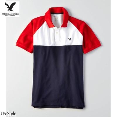 アメリカンイーグル メンズ ポロシャツ AEO Flex Colorblock Polo レッド XSサイズ (1165-8544)