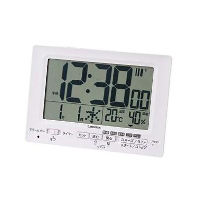 ランデックス(Landex) 目覚まし時計 電波 デジタル neoプラスタイマー タイマー 機能付き 常時点灯 置き掛け兼用 ホワイト YT5278W
