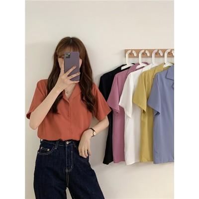 Tシャツ シャツ トップス 夏服 韓国ファッション Tシャツ トップス 上着 チュニック ゆったりフィット感 体型カバー レディースファッション レディース tシャツ 半袖 スーパ