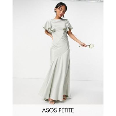 エイソス ミディドレス レディース ASOS DESIGN Petite Bridesmaid flutter sleeve satin maxi dress with button side detail エイソス ASOS