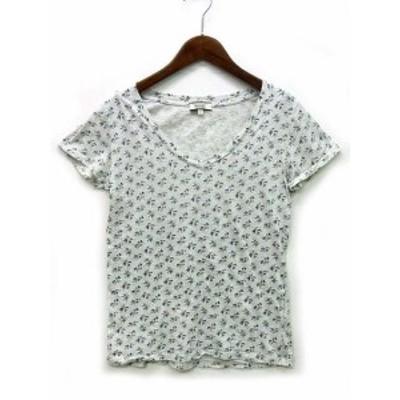 【中古】エーグル AIGLE Tシャツ カットソー コットン 小花柄 Vネック 半袖 ライトグレー S レディース