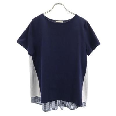 スタジオクリップ チェック柄 切替 カットソー 紺 studio CLIP Tシャツ レディース 古着 210602