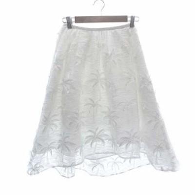 【中古】チェスティ Chesty フレアスカート ミモレ ロング 刺繍 ヤシの木 0 白 ホワイト /KB レディース