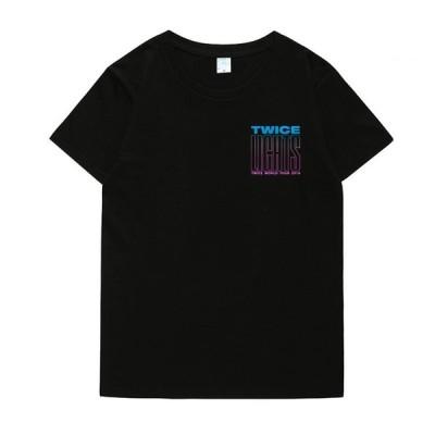 送料無料 TWICE Tシャツ 半袖 トゥワイス クールネック 韓流グッズ レディース メンズ 男女兼用 ウェア 夏服 応援服 プリント おしゃれ カットソー