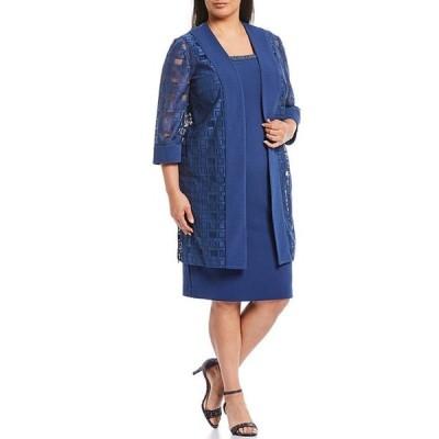 ルボ レディース ワンピース トップス Plus Size 3/4 Sleeve Duster 2-Piece Jacket Dress