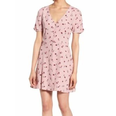 ファッション ドレス ROW A Womens Pink Size Medium M Floral Print Ruched Sleeve Shirt Dress