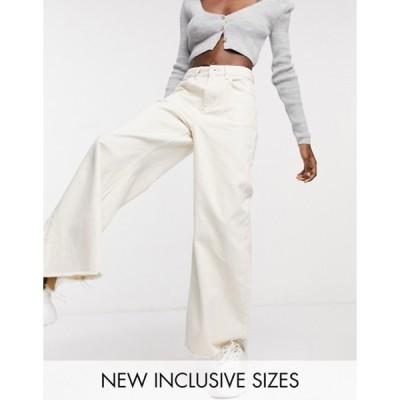 コルージョン レディース デニムパンツ ボトムス COLLUSION x008 wide leg jeans in ecru