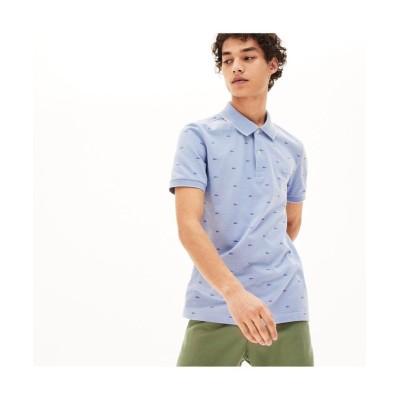 【ラコステ】 スリムフィット ワニシルエット総柄デザインポロシャツ (半袖) メンズ パープル 3(日本サイズM) LACOSTE