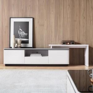 林氏木業現代簡約純白可伸縮電視櫃 BI2M-白色