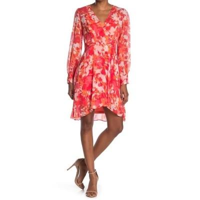 カルバンクライン レディース ワンピース トップス Floral Long Sleeve Surplice Dress EMBER MULT