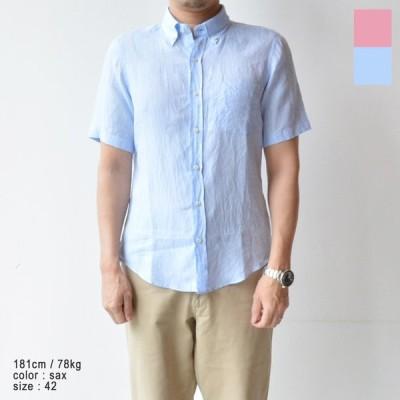 ハリス HARRISS 60/-フレンチリネン半袖BDシャツ(HS191-04050)全2色