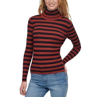 ダナ キャラン ニューヨーク ニット&セーター アウター レディース Striped Turtleneck Sweater New Navy/russet