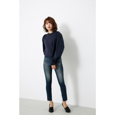 リエンダ rienda Shirt SLV Combi KNIT TOP (ネイビー)