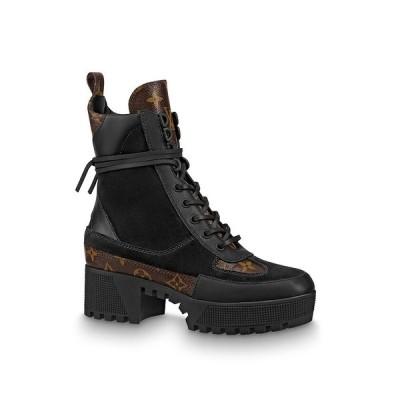 ルイヴィトン LOUIS VUITTON ショートブーツ ブーツ シューズ 靴 ブラック スエード カーフレザー パテント モノグラム キャンバス