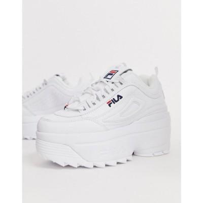 【残り1点!】【サイズ:UK6】フィラ Fila レディース シューズ・靴 スニーカー disruptor ii platform wedge trainers in white white