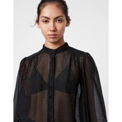 オールセインツ レディース シャツ トップス AllSaints Leonie band collar shirt in sheer black Black