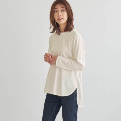 後ろサテン使いロングスリーブTシャツ パールホワイト S M L LL