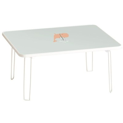 ルームアンドホーム テーブル 折りたたみ 北欧 デザイン 中 クジラ ブルー 48×60×31cm