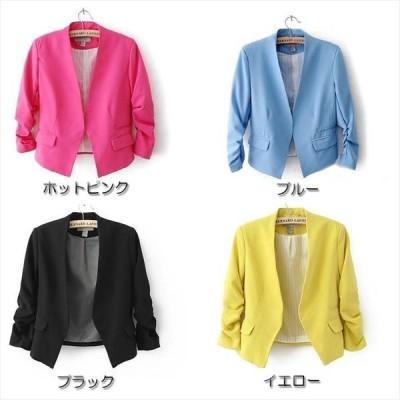 テーラードジャケット レディース アウター フォーマル ショート丈 7分袖 ジャケット 春アウター Sサイズ Mサイズ Lサイズ 黒 イエロー ピンク