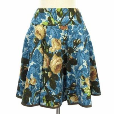 【中古】エムズグレイシー M'S GRACY スカート フレア タック 花柄 フワラー 青 ブルー 36 レディース