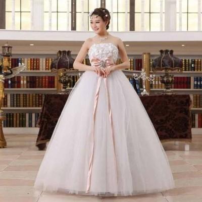 !激安ウェディングドレス 豪華な ウェディングドレス☆ロングドレス結婚式二次会パーティー エンパイアドレス編み上げ.