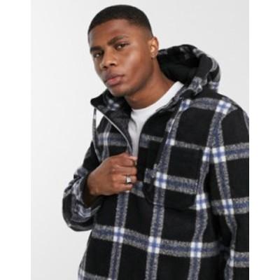 エイソス メンズ ジャケット・ブルゾン アウター ASOS DESIGN wool-blend pullover jacket in blue plaid Blue