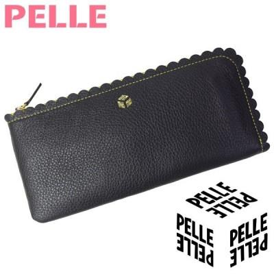 ペレ 財布 レディース PELLE L字ファスナー ナミナミ 1050 ブラック