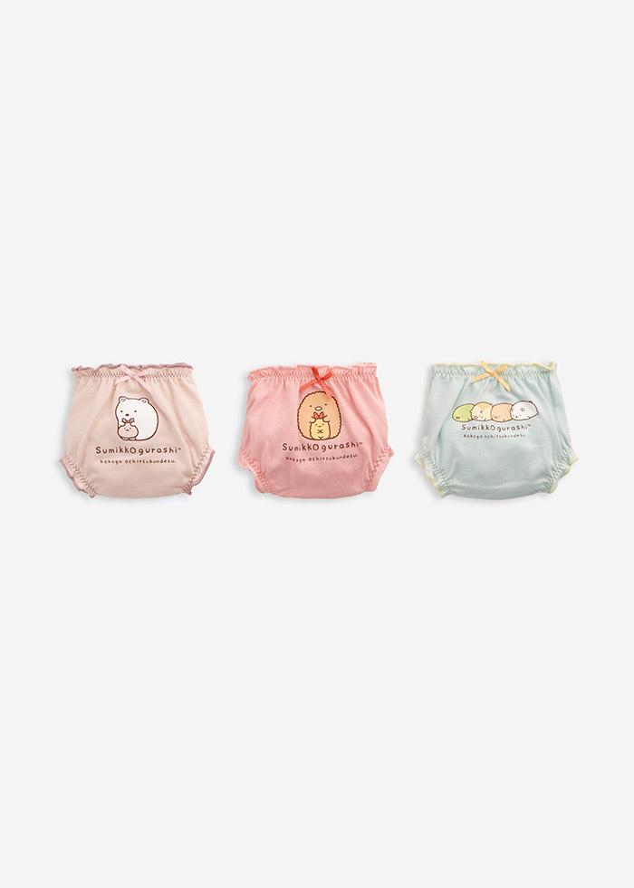 (女童三入組)角落小夥伴系列.抓皺花苞三角內褲(淺藍/粉色/淺粉)