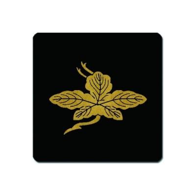 家紋シール 金紋黒地 梶の葉鶴 4cm x 4cm 4枚セット KS44-0352