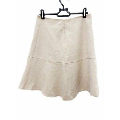 【中古】ロートレアモン LAUTREAMONT スカート フレア ひざ丈 40 ベージュ /AKK レディース