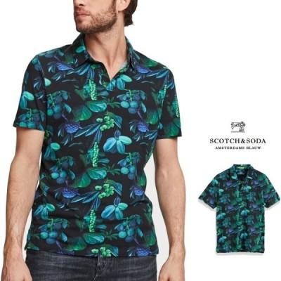 SCOTCH&SODA(スコッチ&ソーダ) 半袖 ボタニカルプリント ポロシャツ Color:NAVY×GREEN(グリーン・ネイビー)