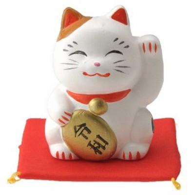 招き猫 新元号 置物/ 令和ネコ みけ左(座布団付) /縁起物 招福
