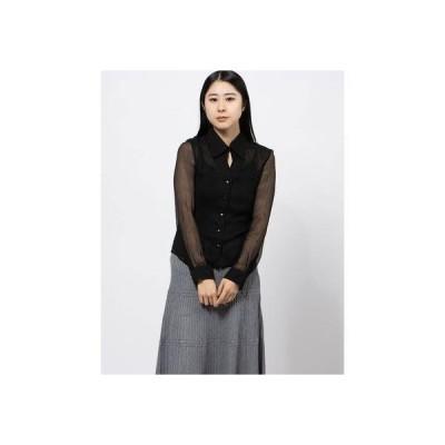 ファインセレクション FINE SELECTION 【Mulberry】シルクシャギーシアーブラウス (ブラック)