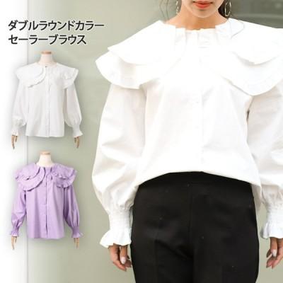 ブラウス レディース 長袖 白 春 シャツ フリル ビッグカラー ラウンド セーラー ダブル 丸襟 きれいめ 可愛い ガーリー ポイント消化