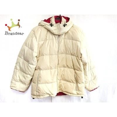 ランズエンド ダウンジャケット サイズM レディース アイボリー×ピンク リバーシブル/冬物  値下げ 20210218