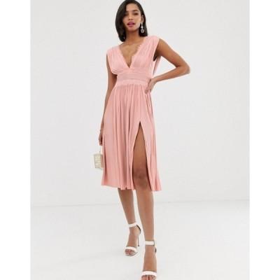 エイソス レディース ワンピース トップス ASOS DESIGN Premium Lace Insert Pleated Midi Dress