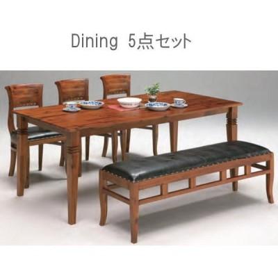 送料無料 ダイニング5点セット 180ダイニングテーブル 椅子3脚 ベンチ 食卓 (バカラ)