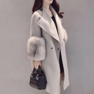 ファー付きロングコート 13157 韓国 レディーズ 大きいサイズ 冬新作 冬物 アウター フェイクファーコート 冬服 ファー付きコート 冬