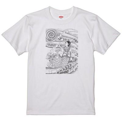 和柄 美人画 乙姫 Tシャツ 和風 浮世絵 タトゥー 刺青