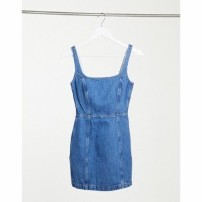 エイソス ASOS DESIGN レディース ワンピース デニム ワンピース・ドレス Denim Square Neck Pinny Dress ブルー