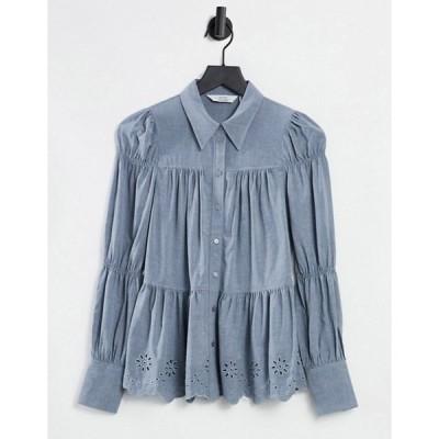 アンドアザーストーリーズ レディース シャツ トップス & Other Stories tiered broderie flannel shirt in gray