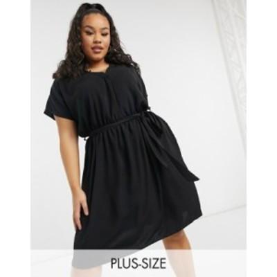 ニュールック レディース ワンピース トップス New Look Curve belted dress in black Black