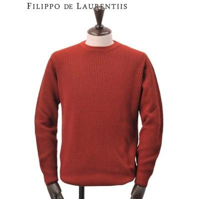 フィリッポ デ ローレンティス FILIPPO DE LAURENTIIS 国内正規品 メンズ クルーネックニット ゴム編み 長袖 レッドブラウン でらでら 公式ブランド