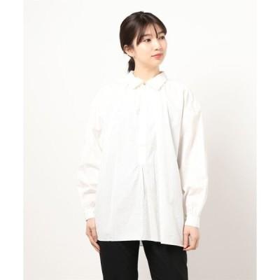 シャツ ブラウス 【ORCIVAL】ギャザープルオーバーシャツ WHITE WOMEN