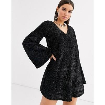 エイソス レディース ワンピース トップス ASOS DESIGN tinsel smock mini dress with bell sleeves